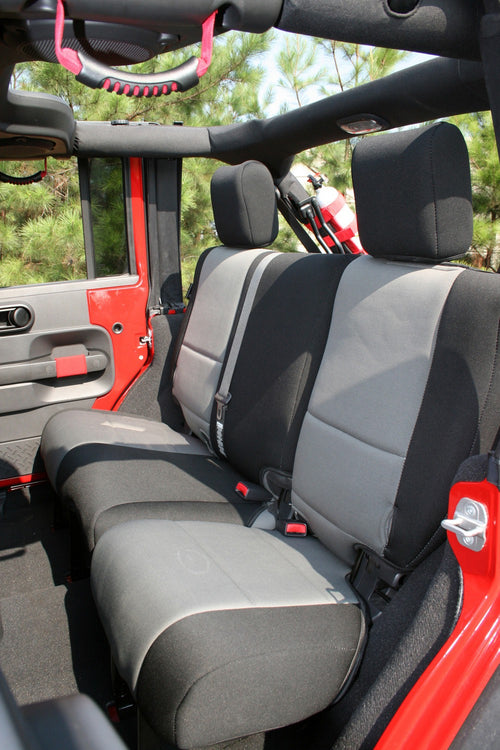 Seat Cover Kit, Black/Gray by Rugged Ridge ('07-'10 Wrangler JKU)
