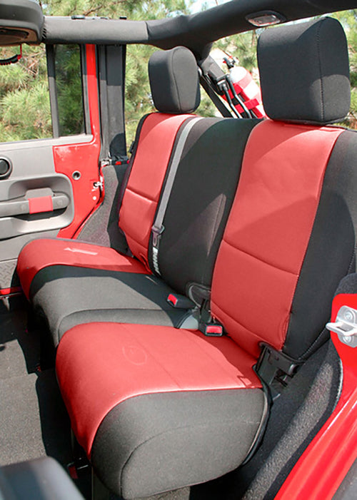 Seat Cover Kit, Black/Red by Rugged Ridge ('07-'10 Wrangler JK 2 Door)