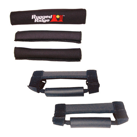 Rugged Ridge Grab Handle Kit, Black; ('97-'06 Jeep Wrangler TJ, LJ)
