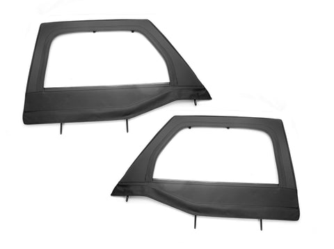 Upper Soft Door Kit, Front, Black Diamond by Rugged Ridge ('07-'18 Jeep Wrangler JK)