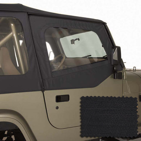 Upper Soft Door Kit, Black Diamond by Rugged Ridge ('88-'95 Jeep Wrangler YJ)