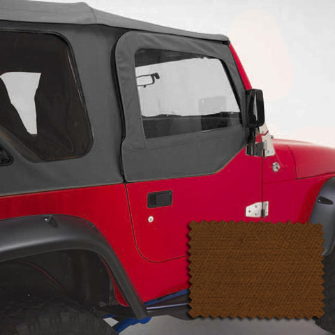 Upper Soft Door Kit, Dark Tan by Rugged Ridge ('97-'06 Jeep Wrangler TJ)