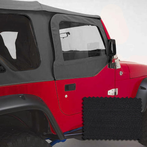 Upper Soft Door Kit, Black Diamond by Rugged Ridge ('97-'06 Jeep Wrangler TJ)