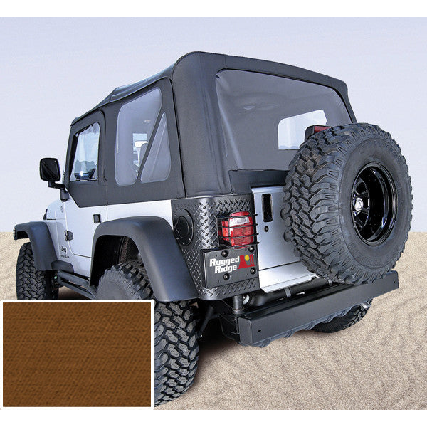 XHD Soft Top, Dark Tan, With Door Skins, Clear Windows by Rugged Ridge ('97-'06 Jeep Wrangler TJ)