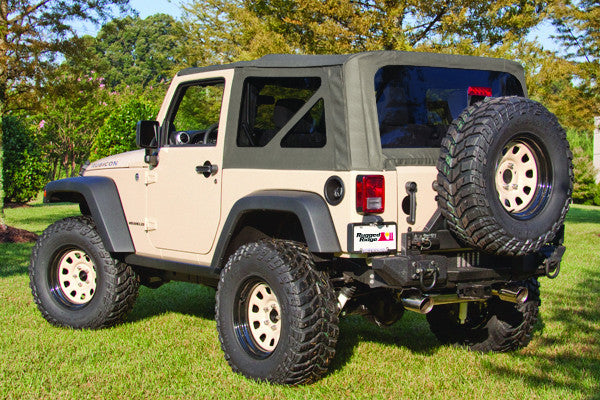 Soft Top, Khaki, Tinted Windows, Without Door Skins by Rugged Ridge ('07-'09 Jeep Wrangler 2 Door)