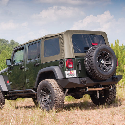 Soft Top, Khaki, Tinted Windows, Without Door Skins by Rugged Ridge ('07-'09 Jeep Wrangler 4 Door)