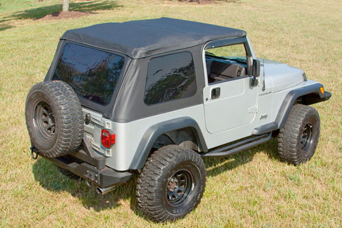 XHD Soft Top, Bowless, Black, Sailcloth, With Door Surrounds by Rugged Ridge ('97-'06 Jeep Wrangler TJ)