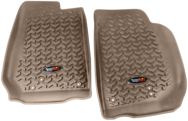 Floor Liners, Front, Tan by Rugged Ridge ('07-'18 Jeep Wrangler JK)