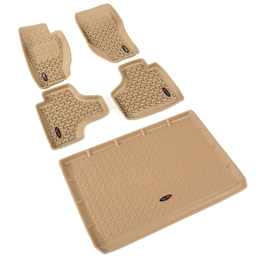 Floor Liners, Tan, Front/Rear/Cargo by Rugged Ridge ('08-'13 Jeep Liberty KK) - Jeep World