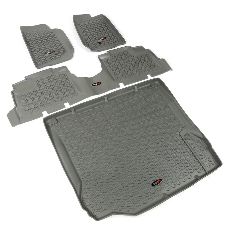 Floor Liners, Kit, Gray, 4-Door by Rugged Ridge ('07-'10 Jeep Wrangler JK)