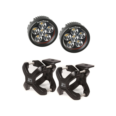 Rugged Ridge X-Clamp and Round LED Light Kit, Large, Black, 2 Pieces (Universal)