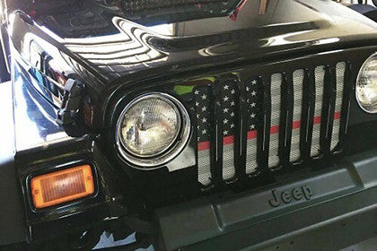 """American Ghost Tactical Red Line"" Grille Insert by Dirty Acres ('76 - '18 Wrangler CJ, YJ, TJ, JK, JKU) - Jeep World"