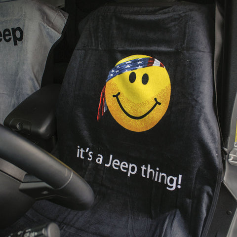 Jeep Seat Towel Black with Smiley Face