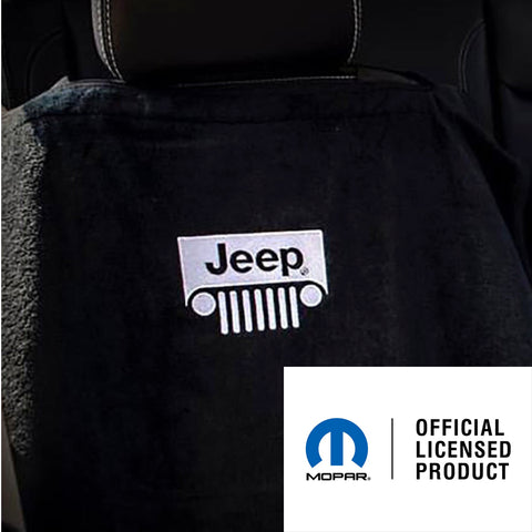 Jeep Seat Towel Black with Grille Logo (Universal)