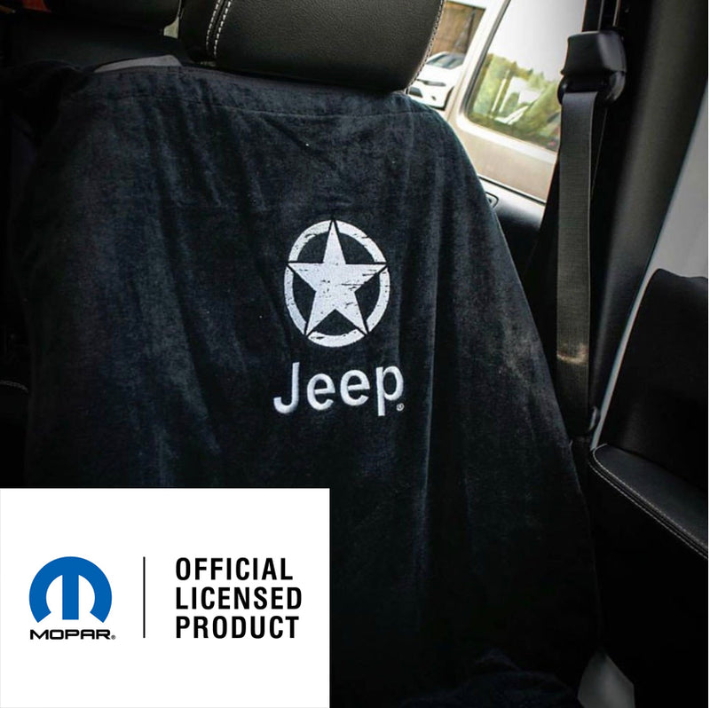 Jeep Seat Towel Black with Oscar Mike Jeep Logo (Universal)