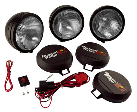 "Rugged Ridge HID Off Road 6"" Fog Light Kit, Set of 3 (Universal)"