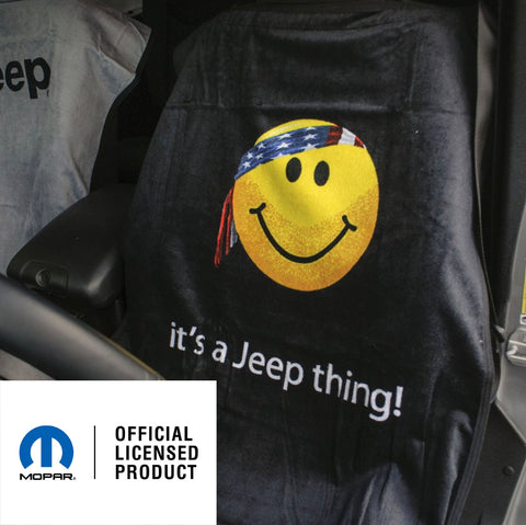 Jeep Seat Towel Black with Smiley Face (Universal)