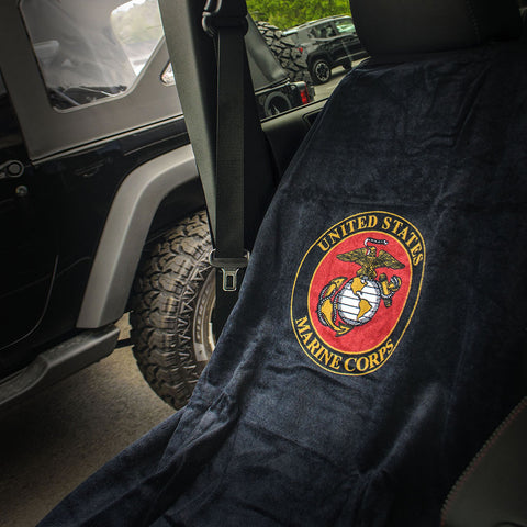 Jeep Seat Towel Black with US Marine Corps Logo (Universal)