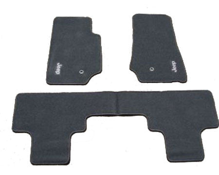 Mopar Floor Mats, 3 Piece, Black Premium Carpet w/Jeep Logo, 4 Door ('14-'16 Wrangler JK) - Jeep World