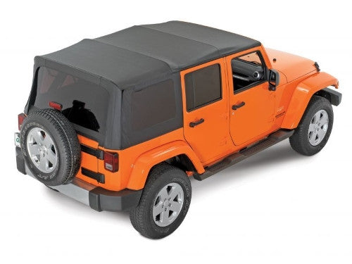 Complete Cable Style Sunrider Soft Top with Spring Lift Assist in Black Diamond for 07-18 Jeep Wrangler Unlimited JK 4 Door by Mopar