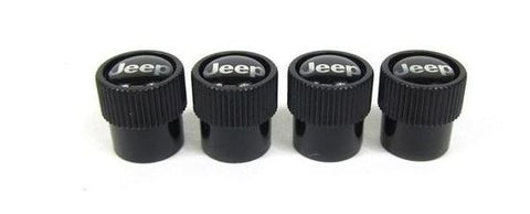 Valve Stem Caps, Black with Jeep Logo by Mopar - (Universal)
