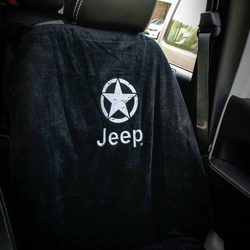 Jeep Seat Towel Black With Oscar Mike Logo Universal