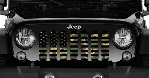 """American Flag Woodland Camo"" Grille Insert From Dirty Acres  ('76-'20 Wrangler CJ, YJ, TJ, JK, JL and '20 Gladiator JT)"