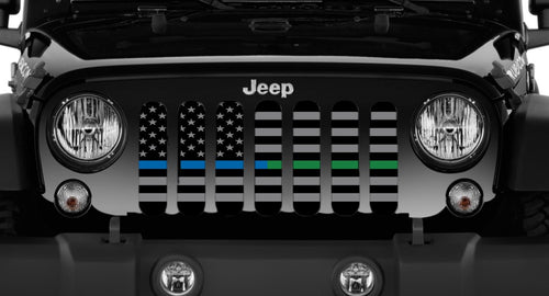 """American Tactical Thin Blue and Thin Green Line"" Grille Insert by Dirty Acres"