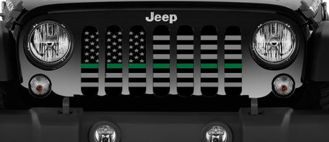 """American Tactical Thin Green Line"" Grille Insert by Dirty Acres (Wrangler, Gladiator, Renegade, G.Cherokee)"