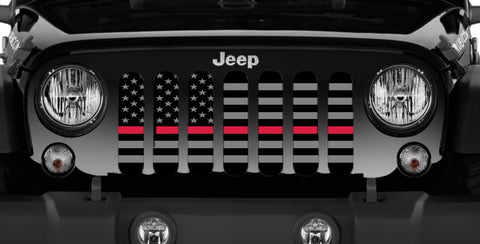 """American Tactical Back The Red"" Grille Insert by Dirty Acres (Wrangler, Gladiator, Renegade, G.Cherokee)"