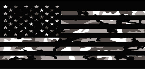 """Tactical American Flag-Black & White Camo"" Grille Insert by Dirty Acres"