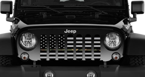 """American Flag Tactical Woodland Camo"" Grille Insert From Dirty Acres ('76 - '19 Wrangler CJ, YJ, TJ, JK, JL, '20 Gladiator JT)"