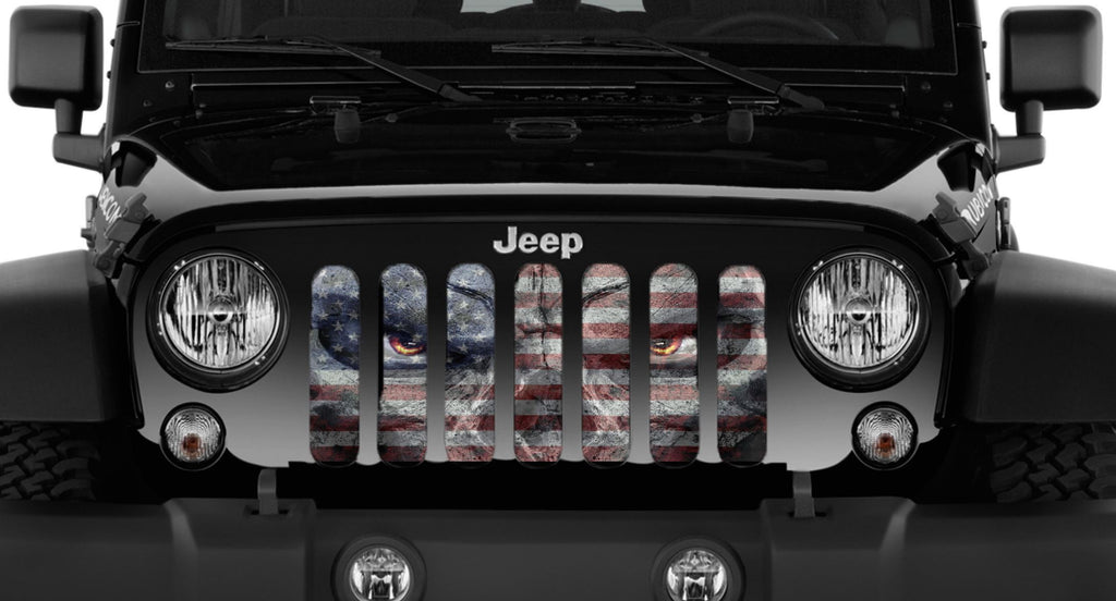 """Angry Patriot"" Grille Insert BY DIRTY ACRES ('76 - '18 Wrangler CJ, YJ, TJ, JK, JKU) - Jeep World"