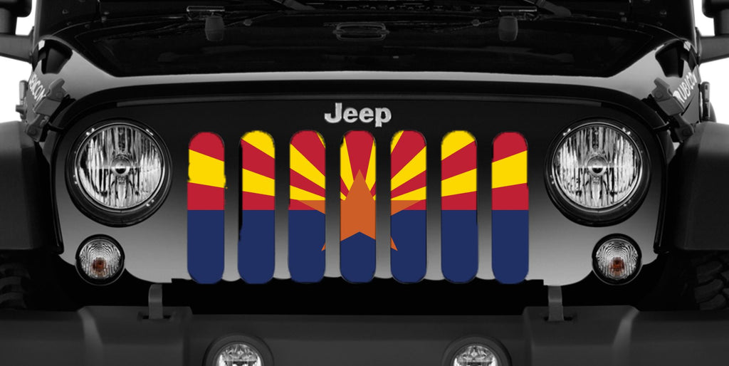 """Arizona State Flag"" Grille Insert by Dirty Acres ('76 - '18 Wrangler CJ, YJ, TJ, JK, JKU) - Jeep World"