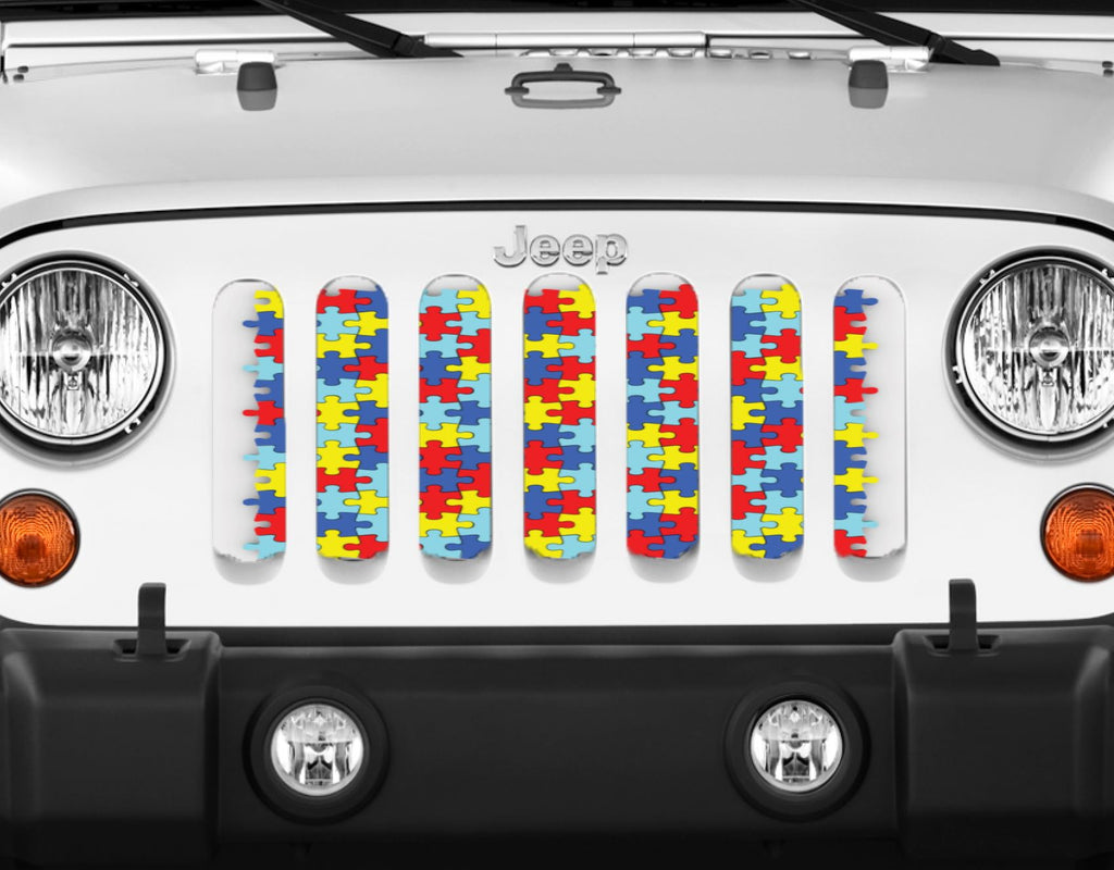 """Autism Awareness Puzzle Piece"" Grille Insert From Dirty Acres ('76-'18 Wrangler YJ, CJ, TJ, JK, JKU) - Jeep World"