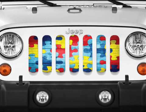 """Autism Awareness Wooden Puzzle"" Grille Insert From Dirty Acres ('76 - '19 Wrangler CJ, YJ, TJ, JK, JL, '20 Gladiator JT)"