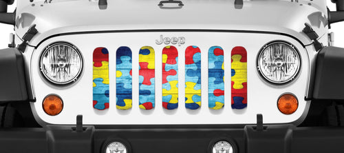 """Autism Awareness Wooden Puzzle"" Grille Insert From Dirty Acres ('76-'18 Wrangler YJ, CJ, TJ, JK, JKU) - Jeep World"