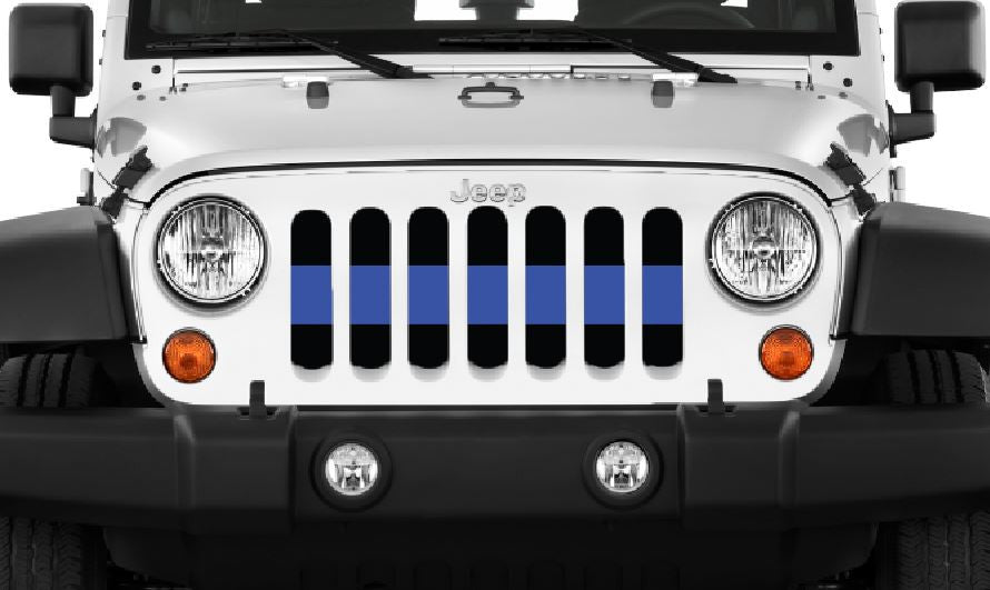 """Back the Blue Stripe"" Grille Insert by Dirty Acres ('76 - '18 Wrangler CJ, YJ, TJ, JK, JKU) - Jeep World"