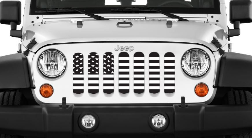 """Black & White USA Flag"" Grille Insert by Dirty Acres ('76 -'18 Wrangler CJ-JK) - Jeep World"