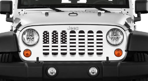 """Black & White USA Flag"" Grille Insert by Dirty Acres ('76 -'19 Wrangler CJ-JL)"