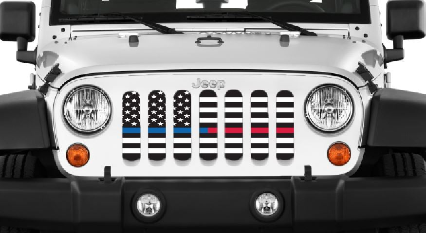 Jeep grill insert that supports fireman and police