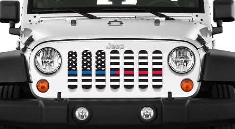 """American Black and White BTBlue/Red"" Grille Insert by Dirty Acres ('76 - '19 Wrangler CJ, YJ, TJ, JK, JL, '20 Gladiator JT)"