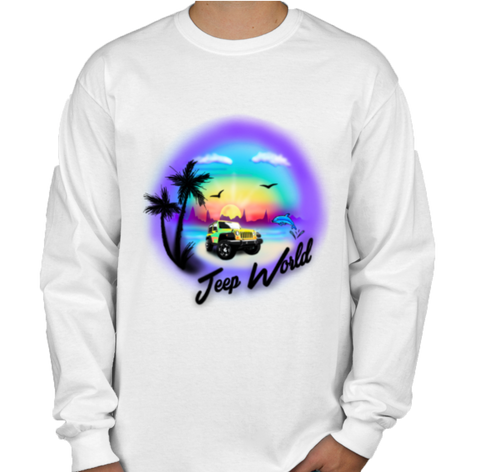 Jeep World Airbrush Beach Men's Long Sleeve Shirt