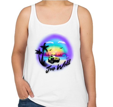 Jeep World Airbrush Beach Women's Tank Top
