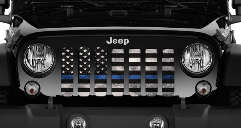 """Back The Blue Steel"" Grille Insert From Dirty Acres ('76-'19 Wrangler YJ, CJ, TJ, JK, JL)"