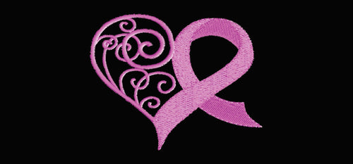 """Pink Hearts Breast Cancer Ribbon"" Grille Insert by Dirty Acres"