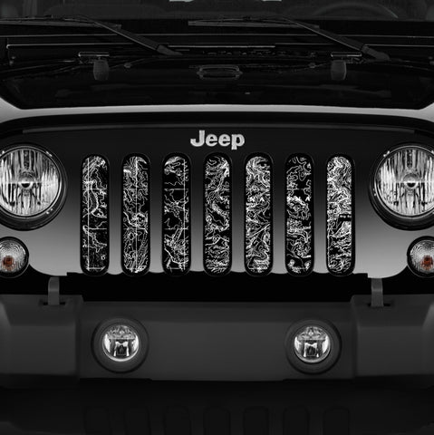 Moab Canyon Lands, Black Grille Insert by Dirty Acres ('76 - '19 Wrangler CJ, YJ, TJ, JK, JL)