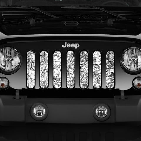 Moab Canyon Lands, White Grille Insert by Dirty Acres ('76 - '19 Wrangler CJ, YJ, TJ, JK, JL)
