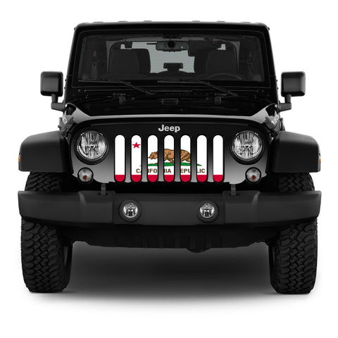 """California Republic"" Grille Insert by Dirty Acres (Wrangler, Gladiator, Renegade, G.Cherokee)"
