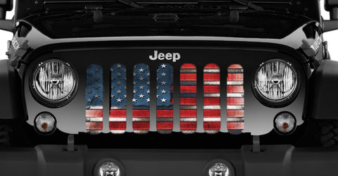 """Captain America Flag"" Grille Insert by Dirty Acres (Wrangler, Gladiator, Renegade, G.Cherokee)"
